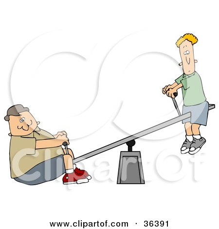 Clipart Illustration of a Confused Thin Boy Up On A Teeter Totter, A Chubby Boy On The Other End by djart
