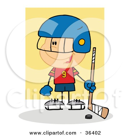 Clipart Illustration of a Happy Caucasian Hockey Goalie Boy With A Puck And Stick by Hit Toon
