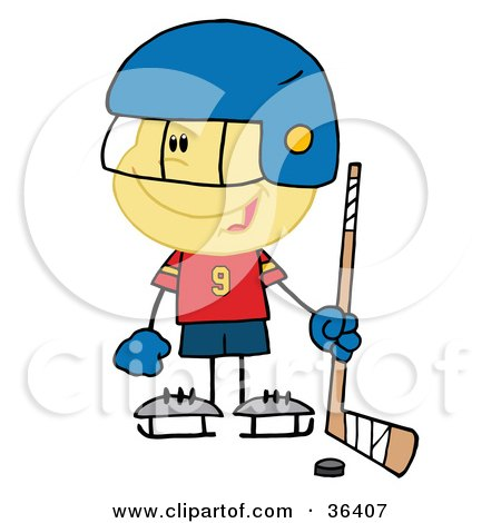 Clipart Illustration of a Little Caucasian Boy Playing A Hockey Goalie by Hit Toon