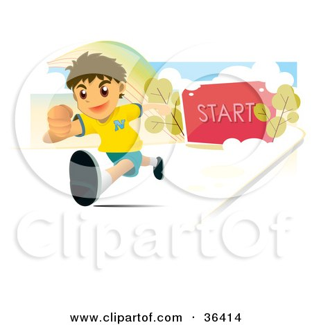 Clipart Illustration of an Athletic Boy Running, The Start Post Behind Him by NoahsKnight