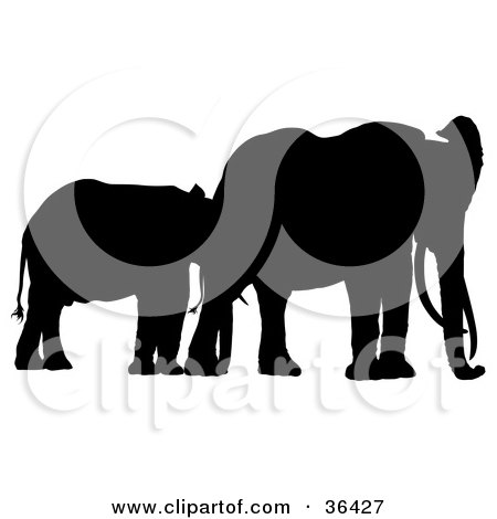 Clipart Illustration of a Juvenile Black Silhouetted Elephant With Its Mother by dero