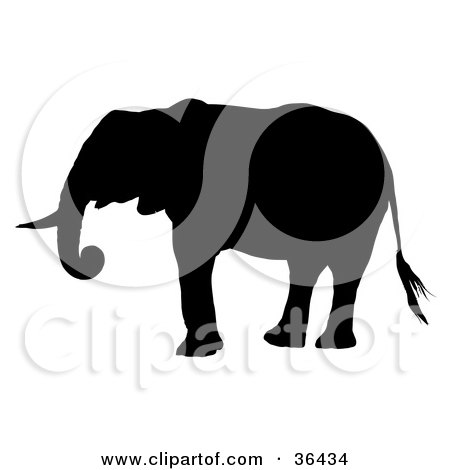Clipart Illustration of a Black Silhouetted Adult Elephant Standing in Profile by dero