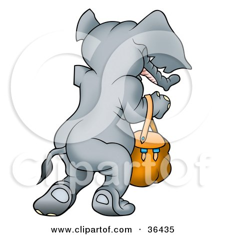 Clipart Illustration of a Gray Elephant Walking Away With A Purse On Her Arm by dero