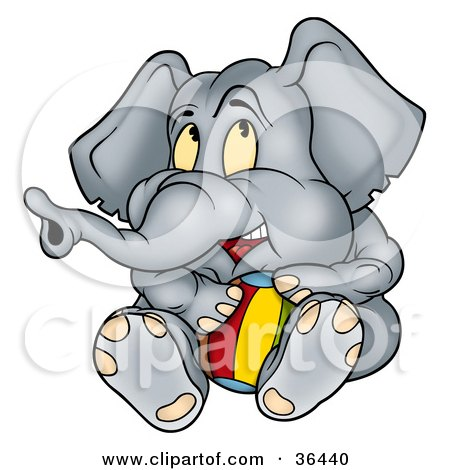 Clipart Illustration of a Cute Gray Elephant Playing With A Beach Ball by dero