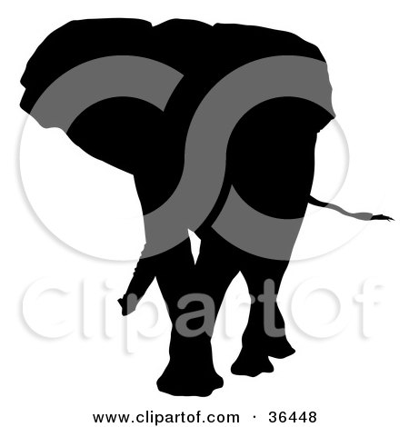 Clipart Illustration of a Black Silhouetted Adult Elephant Walking Forward by dero