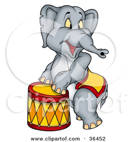 Clipart Illustration of a Circus Elephant Standing Up Against A Stool by dero