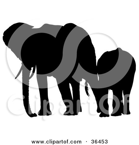 Clipart Illustration of a Black Silhouetted Adult Elephant Leading Its Baby Elephant by dero