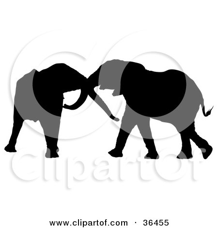 Clipart Illustration of a Black Silhouetted Elephant Pair Playing With Each Other's Trunks by dero