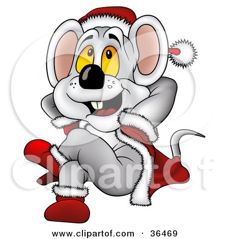 Clipart Illustration of a Christmas Mouse In A Santa Suit, Leaning Back And Daydreaming by dero