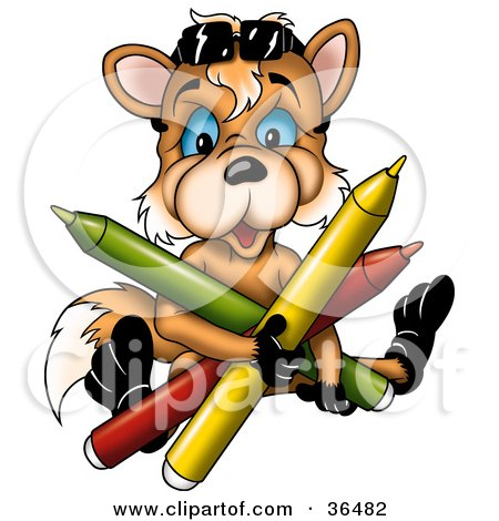 Clipart Illustration of a Cute Orange Fox With Blue Eyes, Holding Colorful Markers by dero