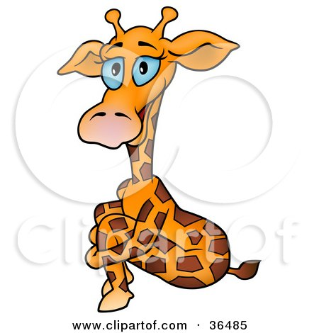 clipart illustration of a blue eyed giraffe standing with