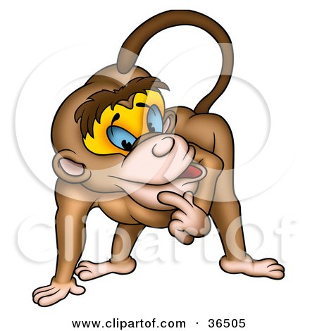 Clipart Illustration of a Thinking Monkey Rubbing His Chin by dero