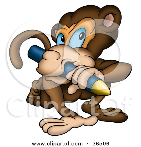 Clipart Illustration of a Creative Brown Monkey Biting a Yellow Crayon by dero