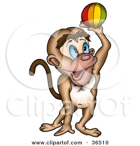 Clipart Illustration of a Playful Blue Eyed Monkey Catching Or Throwing A Ball by dero