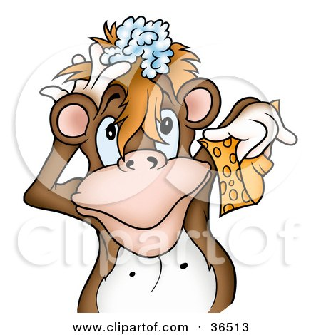 Clipart Illustration of a Brown Monkey Lathering Up His Hair With Shampoo And Holding A Sponge In A Shower by dero