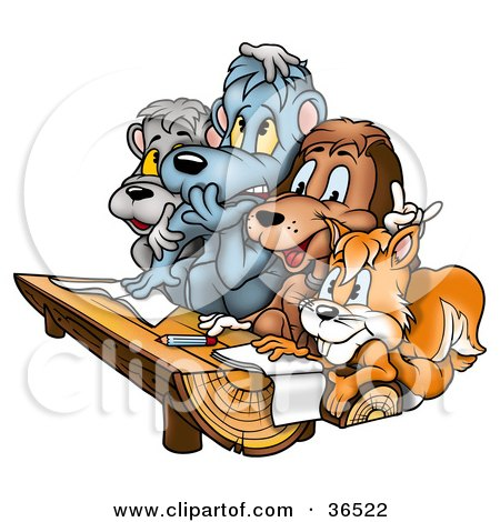 Clipart Illustration of a Squirrel, Dog And Bears At A Wood Log Desk In A Class Room At School by dero