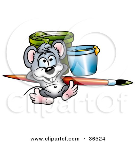Clipart Illustration of a Mouse Artist Relaxing Against A Paintbrush And Cans by dero