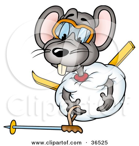 Clipart Illustration of a Clumsy Mouse Rolled Up In A Ball Of Snow, Trying To Get Up by dero