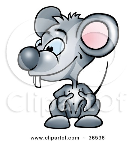 Clipart Illustration of a Goofy Gray Mouse With Buck Teeth, Crouching by dero