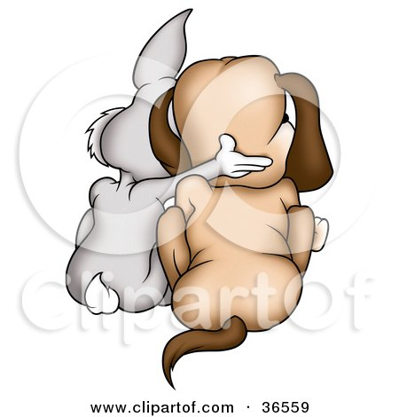 Clipart Illustration of a Gray Rabbit And Dog Huddled Together, As Seen From Behind by dero