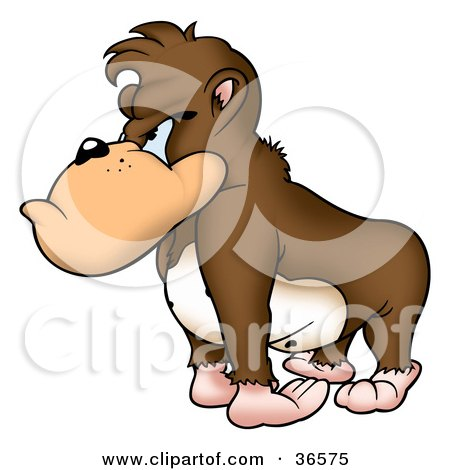 Clipart Illustration of a Grumpy Brown Gorilla With A Bad Attitude, Facing Left by dero
