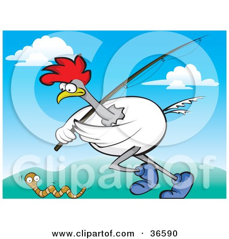 Clipart Illustration of a White Rooster Running With A Fishing Pole, Chasing A Worm by Paulo Resende