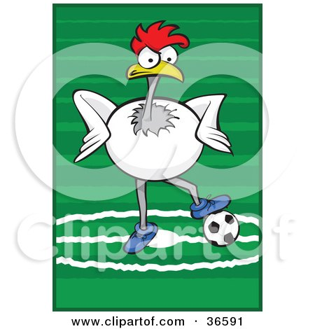 Clipart Illustration of a White Rooster Playing Association Football or Soccer by Paulo Resende