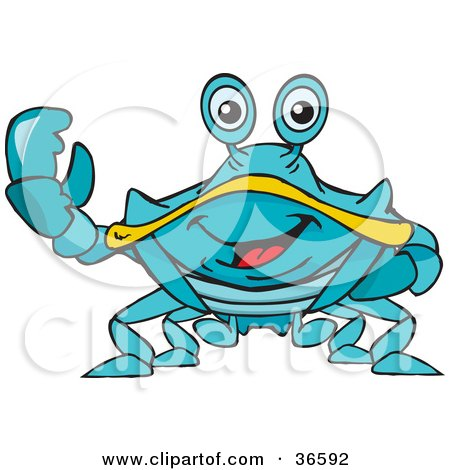 Clipart Illustration of a Peaceful Blue Crab Smiling And Gesturing The Peace Sign With His Hand by Dennis Holmes Designs