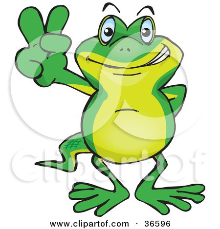 Clipart Illustration of a Peaceful Gecko Smiling And Gesturing The Peace Sign With His Hand by Dennis Holmes Designs