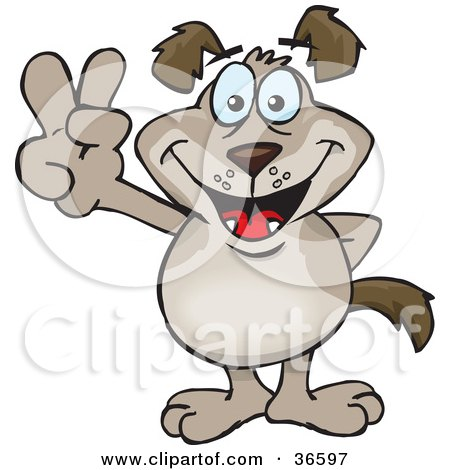 Clipart Illustration of a Peaceful Light Brown Dog Smiling And Gesturing The Peace Sign With His Hand by Dennis Holmes Designs