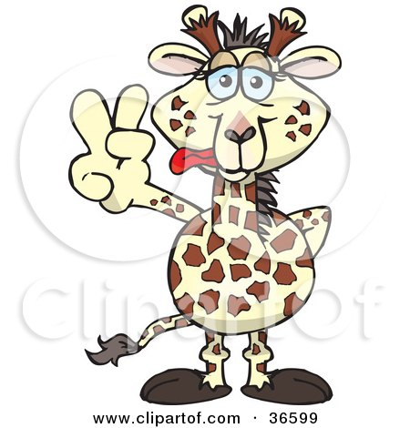 Clipart Illustration of a Peaceful Giraffe Smiling And Gesturing The Peace Sign With His Hand by Dennis Holmes Designs