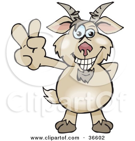 Clipart Illustration of a Peaceful Brown Goat Smiling And Gesturing The Peace Sign With His Hand by Dennis Holmes Designs