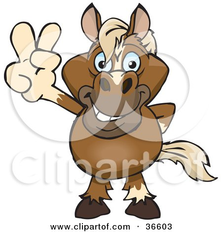 Clipart Illustration of a Peaceful Horse Smiling And Gesturing The Peace Sign With His Hand by Dennis Holmes Designs