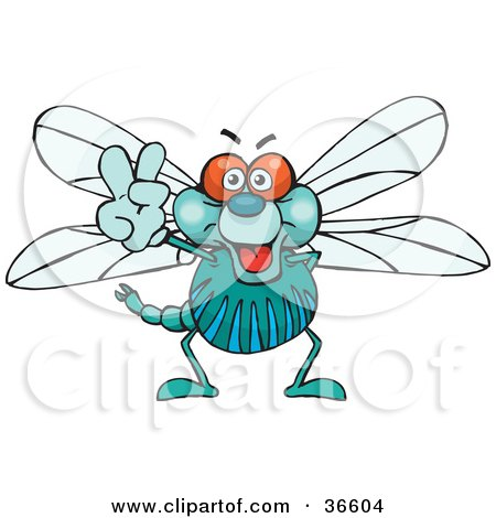 Clipart Illustration of a Peaceful Dragonfly Smiling And Gesturing The Peace Sign With His Hand by Dennis Holmes Designs
