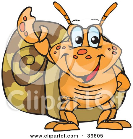 Clipart Illustration of a Peaceful Hermit Crab Smiling And Gesturing The Peace Sign With His Hand by Dennis Holmes Designs
