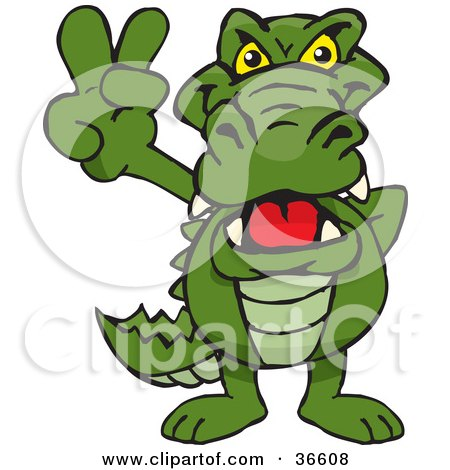 Clipart Illustration of a Peaceful Alligator Smiling And Gesturing The Peace Sign With His Hand by Dennis Holmes Designs