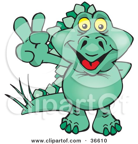 Clipart Illustration of a Peaceful Green Stegosaur Dinosaur Smiling And Gesturing The Peace Sign With His Hand by Dennis Holmes Designs