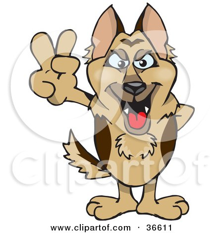 Clipart Illustration of a Peaceful German Shepherd Dog Smiling And Gesturing The Peace Sign With His Hand by Dennis Holmes Designs