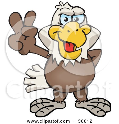 Clipart Illustration of a Peaceful Bald Eagle Smiling And Gesturing The Peace Sign With His Hand by Dennis Holmes Designs