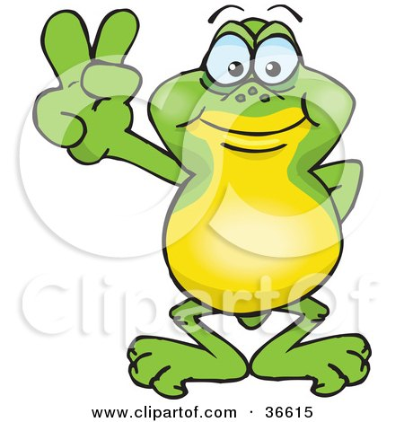Peaceful Frog Smiling And Gesturing The Peace Sign With His Hand Posters, Art Prints