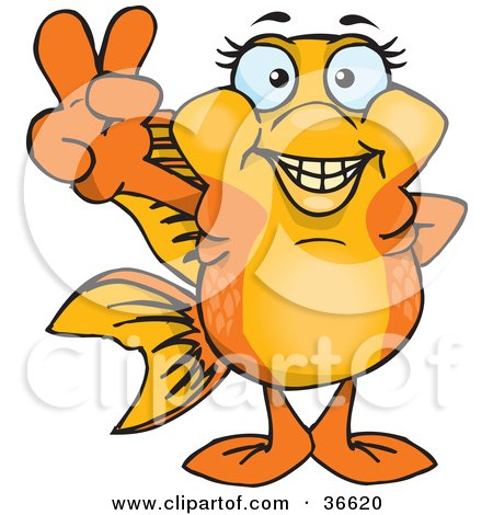 Clipart Illustration of a Peaceful Gold Fish Smiling And Gesturing The Peace Sign With His Hand by Dennis Holmes Designs