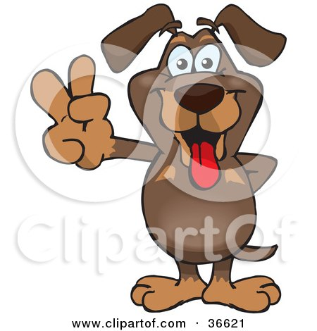 Clipart Illustration of a Peaceful Dachshund Dog Smiling And Gesturing The Peace Sign With His Hand by Dennis Holmes Designs
