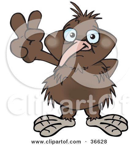 Royalty-free animal clipart picture of a peaceful kiwi bird