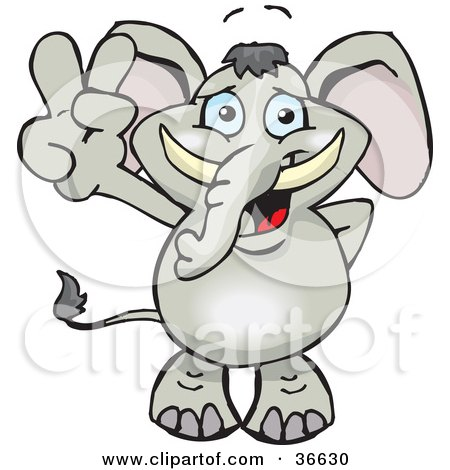 Royalty-free animal clipart picture of a peaceful elephant smiling and