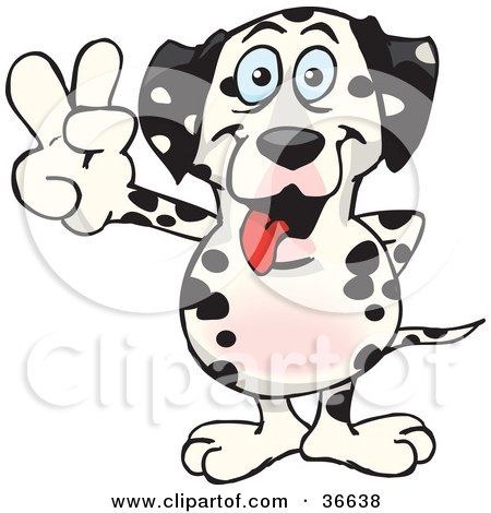 Clipart Illustration of a Peaceful Dog Smiling And Gesturing The Peace Sign With His Hand by Dennis Holmes Designs