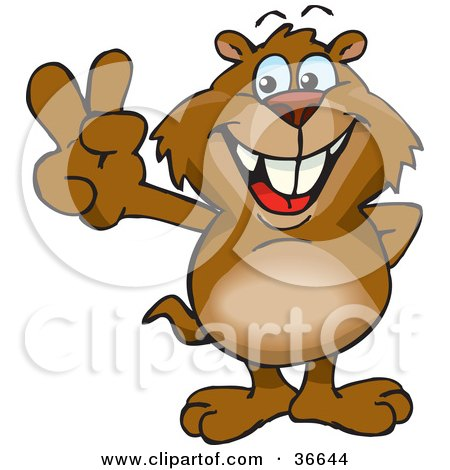 Clipart Illustration of a Peaceful Gopher Smiling And Gesturing The Peace Sign With His Hand by Dennis Holmes Designs
