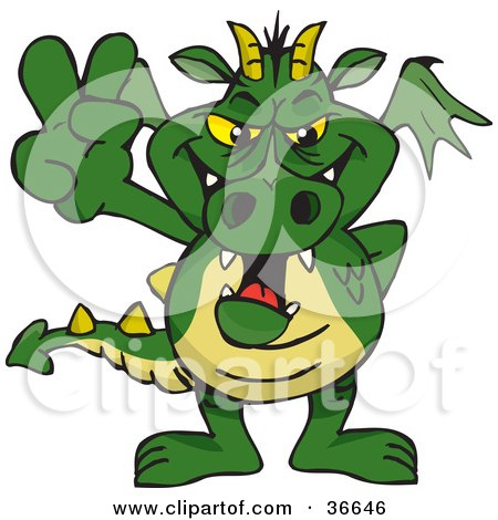 Clipart Illustration of a Peaceful Dragon Smiling And Gesturing The Peace Sign With His Hand by Dennis Holmes Designs