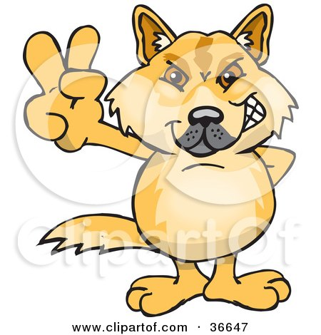 Clipart Illustration of a Peaceful Dingo Dog Smiling And Gesturing The Peace Sign With His Hand by Dennis Holmes Designs
