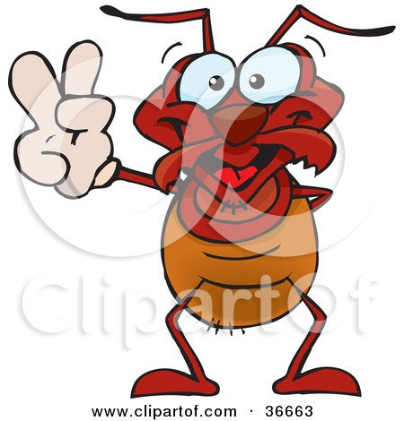 Clipart Illustration of a Peaceful Ant Smiling And Gesturing The Peace Sign With His Hand by Dennis Holmes Designs