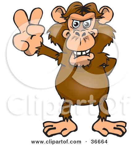 Clipart Illustration of a Peaceful Chimpanzee Smiling And Gesturing The Peace Sign With His Hand by Dennis Holmes Designs